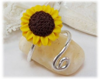 Sunflower Adjustable Silver Wrap Ring - Sunflower Jewelry