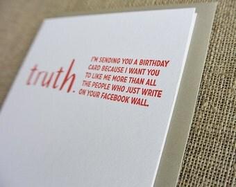 Letterpress TRUTHnote. Facebook birthday.