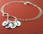 Infinity Bracelet, Personalized Bracelet  Sterling Silver Handmade Infinity Jewelry,Up to Four Initials, Family Bracelet, Grandma Gift