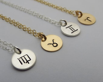 ON SALE Gold or Silver Zodiac Necklace, Zodiac Signs Necklace,Personalized Zodiac Necklace, Bridesmaids Necklaces, Personalized Gift, Jewelr