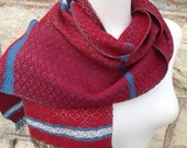 Blue to Khaki with Red Handwoven Scarf