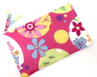 Zippered Pouch, Makeup pouch, Pencil case,  Flowers in Blue Yellow on Pink