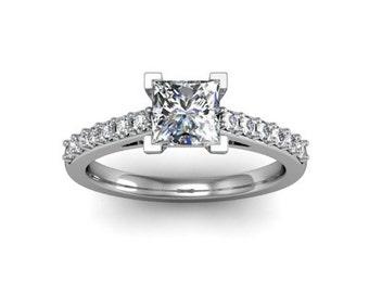 Princess Diamond Solitaire Engagement Ring 14K Conflict Free Diamond Engagement Ring Custom Bridal