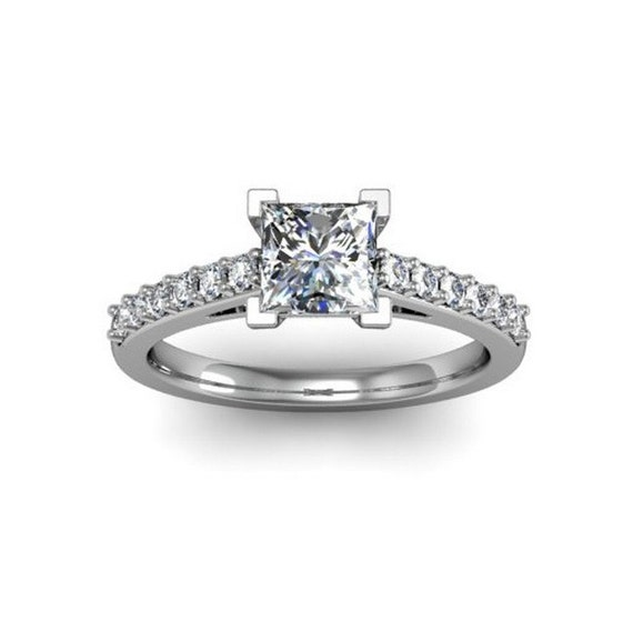 princess solitaire engagement ring 14k conflict free