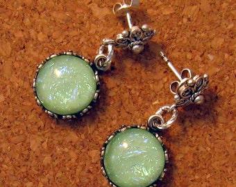 Dichroic Earrings - Bezel Set Earrings - Fused Glass Earrings - Dichroic Jewelry - Fused Glass Jewelry - Post Earrings