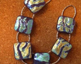 Dichroic Glass Bracelet - Fused Glass Bracelet - Dichroic Jewelry - Fused Glass Jewelry - Link Bracelet