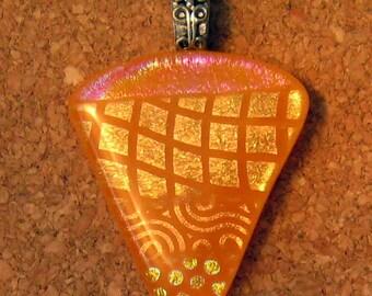 Fused Dichroic Orange Glass Pendant Dichroic Jewelry Fused Glass Jewelry Glass Pendant Glass Jewelry