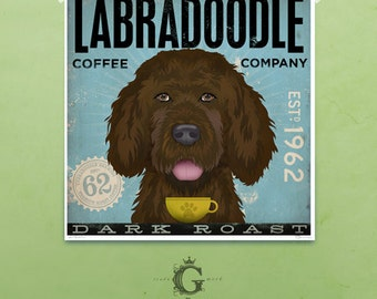 Labradoodle Coffee Company vintage style dog artwork giclee archival print by stephen fowler Pick A Size