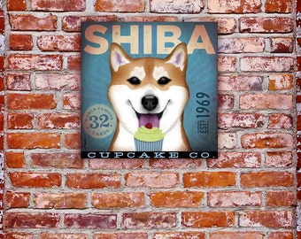 Shiba Inu Cupcake Company illustration graphic art on gallery wrapped canvas by stephen fowler