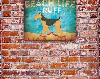 Beach Life airedale terrier dog in sandals illustration graphic artwork on gallery wrapped canvas by Stephen Fowler Customize it!