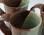 Pottery Mug - Autumn Spice and Jade Green with Leafy Design