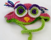 Dog Owl Hat, hand crocheted wool, Dusty Rose/Purple/Lime or Teal/Purple/Gold  in XS, SM, MED