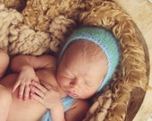 Newborn Photography Knit Baby Bonnet Blue and Green