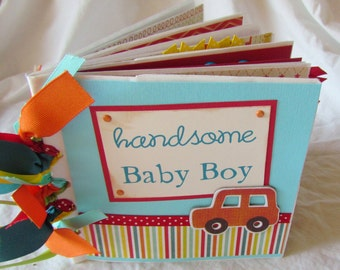 BABY BOY Premade Scrapbook Mini Album -- PaPeR BaG -- YoU PiCK choose your paper collection - baby boy first year, unique baby shower gift