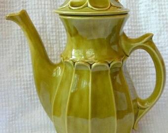 Vintage Decorative Coffee Carafe - Tea Pot - Olive green color - Wonderful retro styling