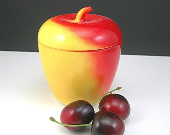 Hazel Atlas Apple Jar Enameled Vitrock Glass, Vintage 1950, Red and Yellow, White Interior, Mid-century Retro Kitchenware