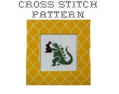 DIY Godzilla with a Chocolate Easter Bunny - .pdf Original Cross Stitch Pattern - Instant Download