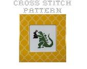 DIY Godzilla with a Chocolate Easter Bunny - .pdf Original Cross Stitch Pattern - Instant Download