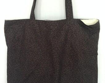 Large Tote-Tone-on-Tone Black & Gray Leaves (Bag 475)