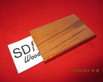 Handcrafted Tigerwood,Leopardwood and Bubinga Business Card Case