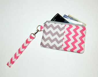 Chevron (Pink and Gray) - Wristlet Purse with Removable Strap and Interior Pocket