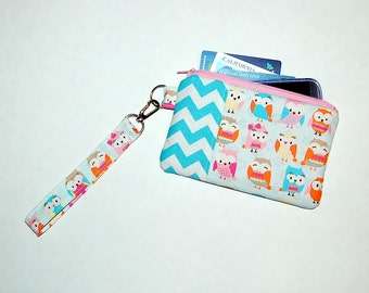 Retro Owls and Aqua Chevron - Wristlet Purse with Removable Strap and Interior Pocket