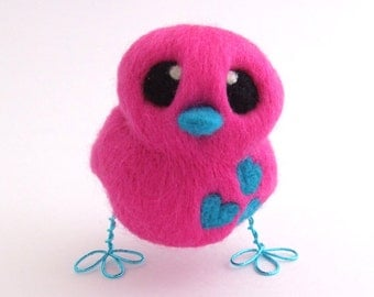 Felt Bird Hot Pink and Turquoise Blue Love Bird
