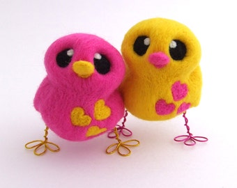 Yellow Bird with Pink Hearts Needle Felted Love Bird