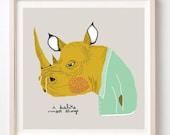 I Dislike Most Things, Art Print, Animals, Humor, Gift, Rhino, Illustration, Grumpy, Drawing, Illustration
