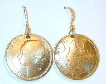 Coin earrings-Antique  French Rooster coin earrings-handmade in the USA-free shipping