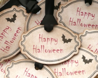 Halloween Tags - Black and Red Treat Bag Labels - Vintage Style - Set of 8