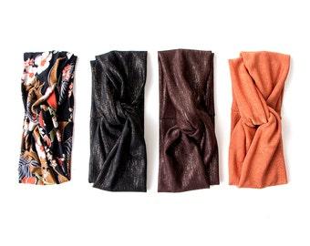 Turban Headband // Turband // Hair Wrap // Fall Turban // Autumn Turban // Floral // Black Lurex // Brown Lurex // Rust