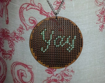 YAY! Round Wooden Cross Stitched Necklace. Pendant & Sterling Silver Chain!