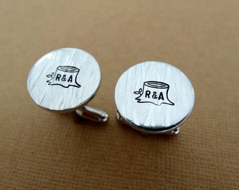 Custom Cufflinks - Initials - Tree - Personalized Cufflinks