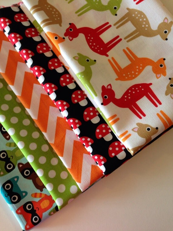 SALE Woodland Pals Quilt or Craft Fabric Bundle by Ann Kelle for Robert Kaufman Fabrics- Fat Quarter Bundle- 5 total