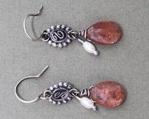 Handmade Faceted Sunstone Drop Freshwater Pearl Bali Sterling Silver Filigree Dangle Earrings