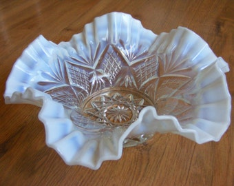 Vintage Ruffled Glass Bowl
