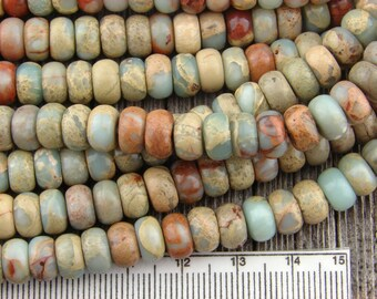 Sea Sediment Jasper, Aqua Terra Beads, Impression Jasper Beads, 8mm Rondelle Beads, Blue Beads, Heishi Beads, Natual Gemstone, 4x8mm