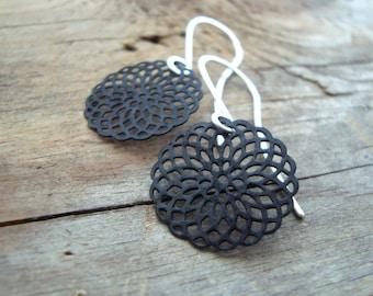 Black Mandala Earrings Metalwork Sterling Silver Zen Asian Style Modern