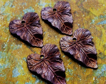 Brass Leaf Charms - 4 pcs - Small Wavy Antiqued Brass - Fall Charms - Patina Queen