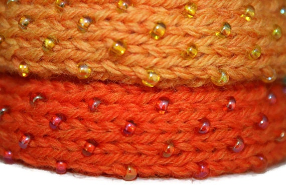 Dew Drop Knitted Bangle Bracelet in Bright Orange - Medium