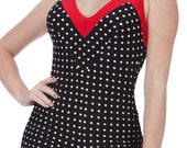 30% OFF Iris Onepiece Polka-Dotted Swimsuit in Black/White and Red (S-2X)