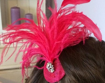 New handmade 1920s inspired fushia pink feather fascinator