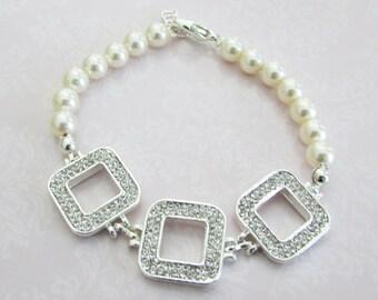 Bridal Jewelry - Bride Bracelet - Bridesmaid Bracelet - Rhinestone and Pearl Bracelet- Wedding Jewelry -Wedding Accessories
