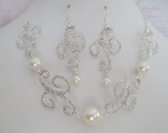 Clearance Bride Bridesmaids Rhinestone Pearl Necklace and earrings Set Bridal Jewelry Bridal Accessories Wedding Jewelry
