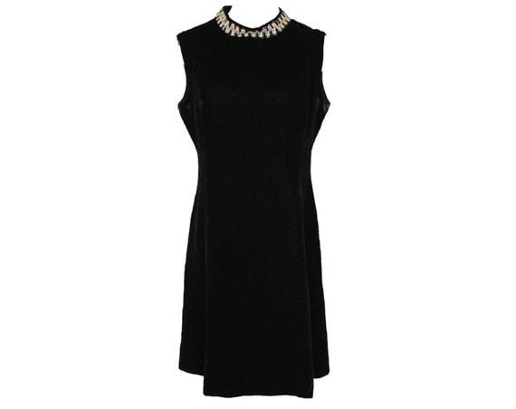 CLEARANCE SALE - 60's Vintage Black Velvet Sequin Mod Metallic Collar Cocktail Dress
