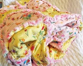 Rag Lap Quilt, Girl's Quilt, Pink and Yellow Flowers, Large Lap Quilt, Floral Rag Quilt, Girl Rag Quilt, Handmade
