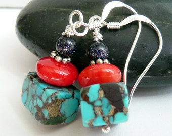 Handcrafted Artisan Mexican Turquoise Cube Red Coral Blue Goldstone Sterling Silver OOAK Rustic Tribal Southwestern Boho Gypsy Earrings