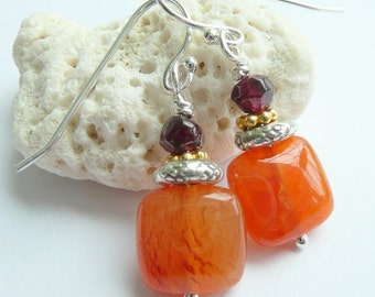 Handcrafted Artisan Carnelian Garnet Gold Vermeil Sterling Silver OOAK Boho Gypsy Fire Light Fall Colors Gift for Her Earrings