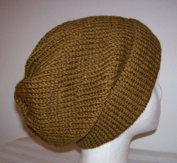 Hipster Hat Knitting Pattern : Wool Ski Hat Hand Knit Hat Hipster Beanie Amber Heather